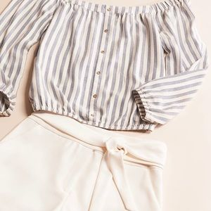 Dynamite striped off the shoulder blouse in XS